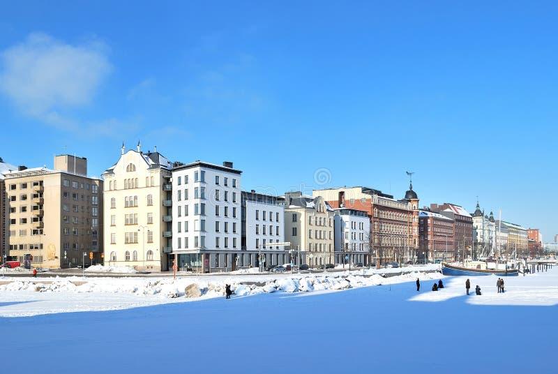 Helsinki. Quay du nord en hiver photographie stock libre de droits