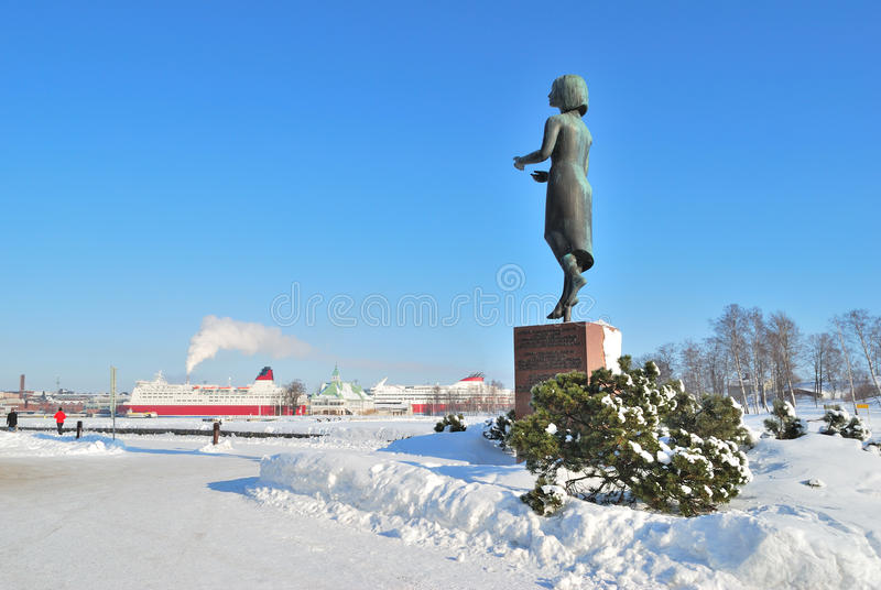 Helsinki. Südhafen Quay im Winter lizenzfreie stockbilder