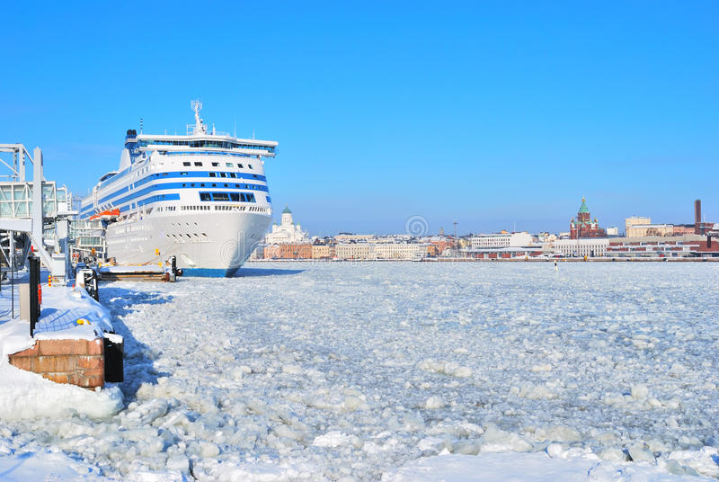 Helsinki Seaport In Winter Stock Photo