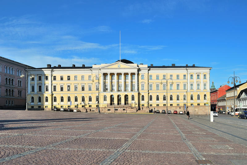 Helsinki, Senate. Helsinki. Senate Square and the building of Senate at sunset. Finland royalty free stock photo