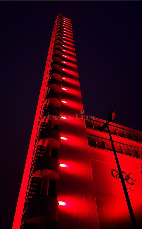 Helsinki stadium Olimpijski wierza przy luksa światła sztuk festiwalem obrazy royalty free