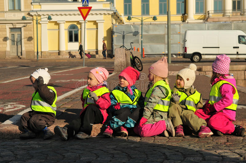Helsinki street kids stock photography
