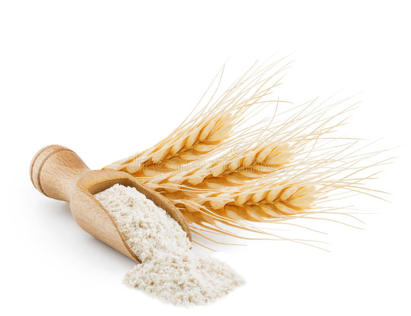 Helt kornvetemjöl som isoleras på vit arkivbild