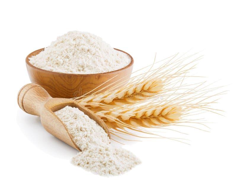 Helt kornvetemjöl som isoleras på vit arkivfoto