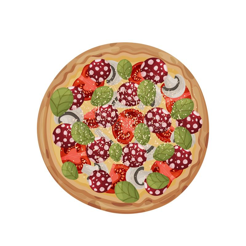 Helt med salami och champinjoner white f?r vektor f?r bakgrundsillustrationhaj vektor illustrationer