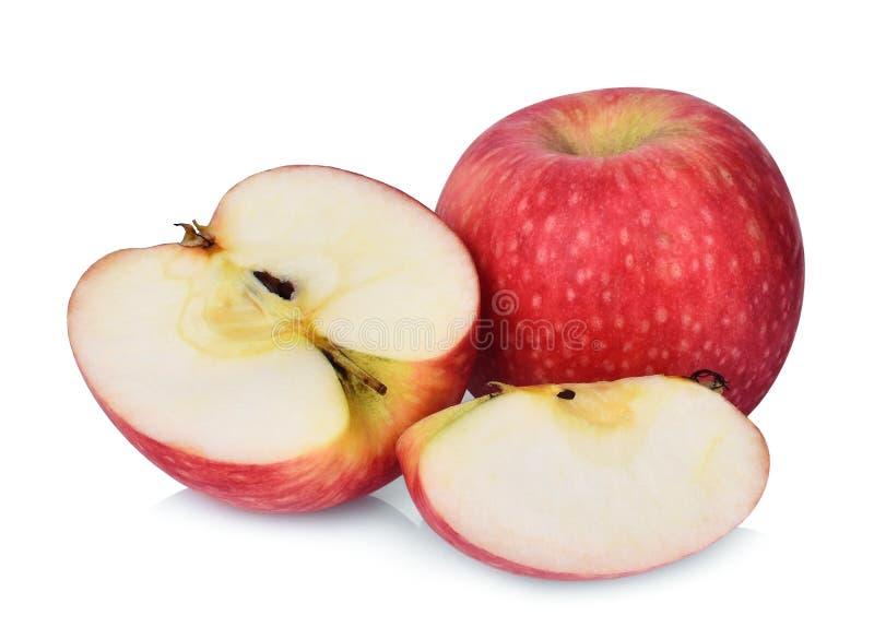 Helt och halvt äpple för rosa dam som isoleras på vit arkivbild