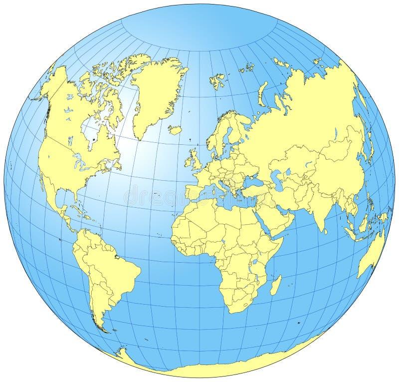 Helt världsjordklot royaltyfri illustrationer
