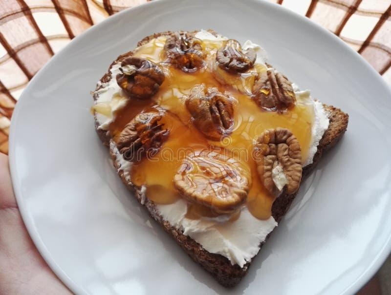 Helt veterostat brödbröd med gräddost, honung och valnötter för frukost royaltyfria foton
