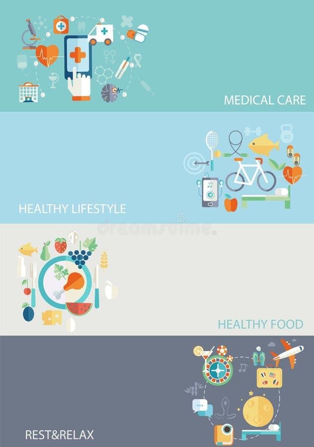 Helthcare和healllthy生活方式 向量例证