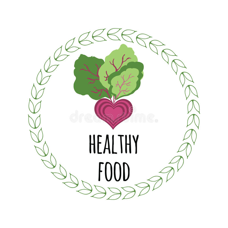 Helthy food sign and abstract vegetabel. Beetroot. Natural element for organic food. Typography banner with quote and vegetable into green round frame made from vector illustration