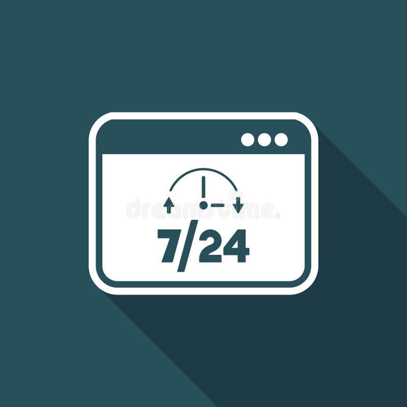 Heltid 7/24 datatjänst - plan symbol för vektor stock illustrationer