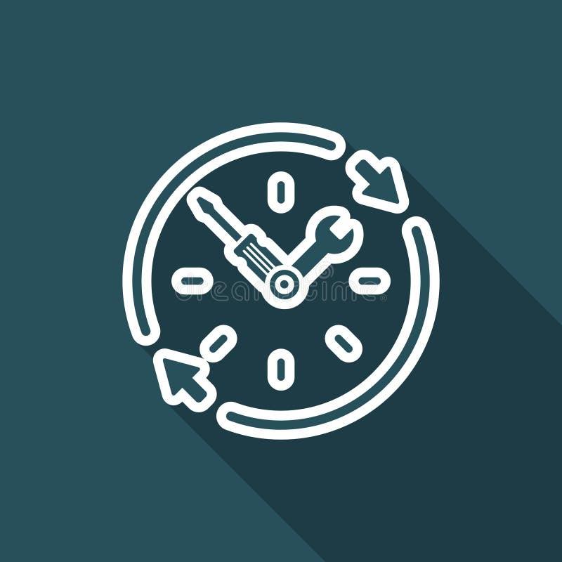 Heltid service för teknisk hjälp - vektorrengöringsduksymbol stock illustrationer