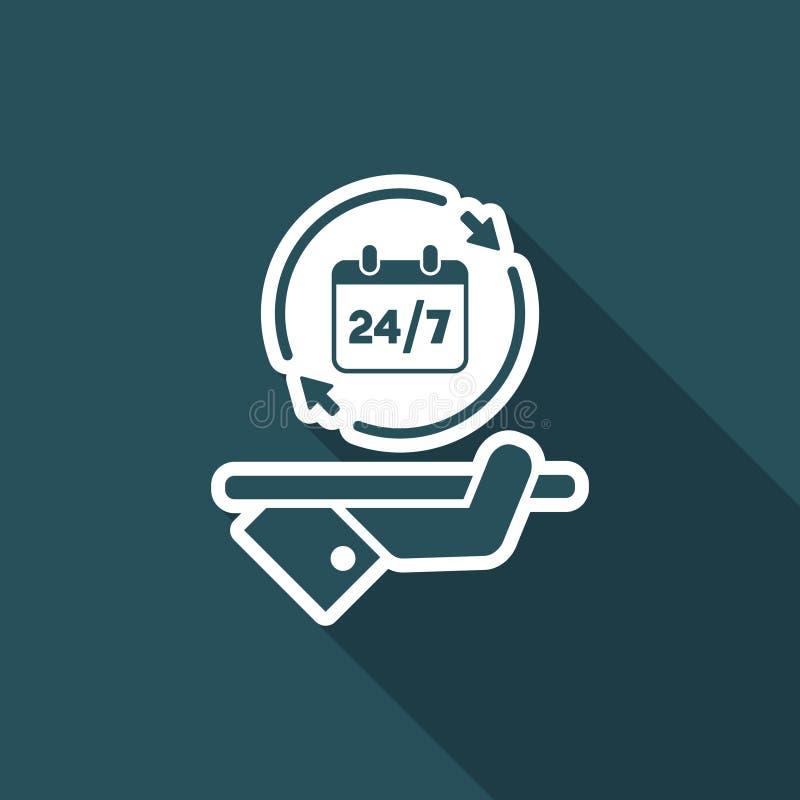 24/7 heltid service - vektorrengöringsduksymbol royaltyfri illustrationer