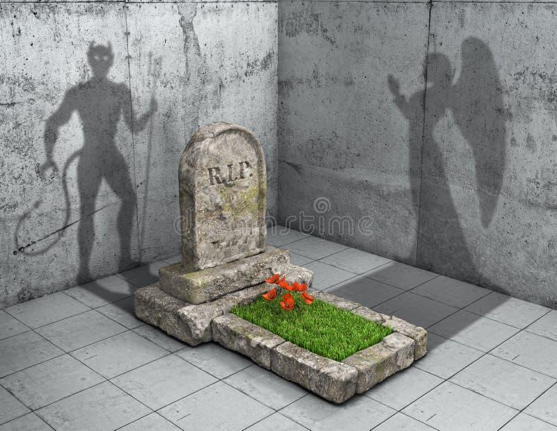 Helvete eller himmel Den allvarliga ensemblen skuggar i form av jäkel som helvete och form av ängeln som paradis illustration 3d vektor illustrationer