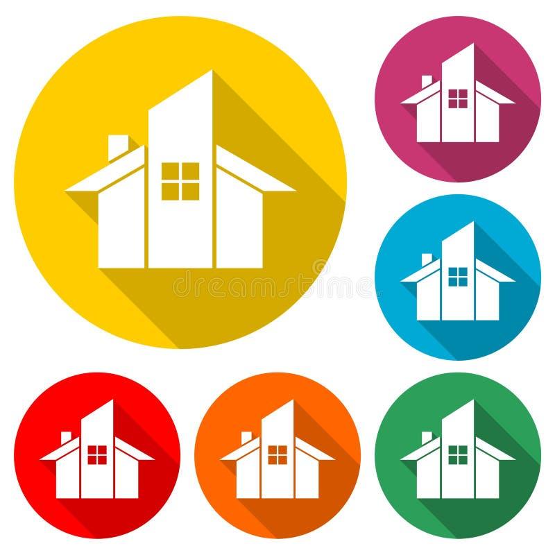 Hem- abstrakt logo för konstruktionsföretag, hem- symbol, färguppsättning med lång skugga vektor illustrationer