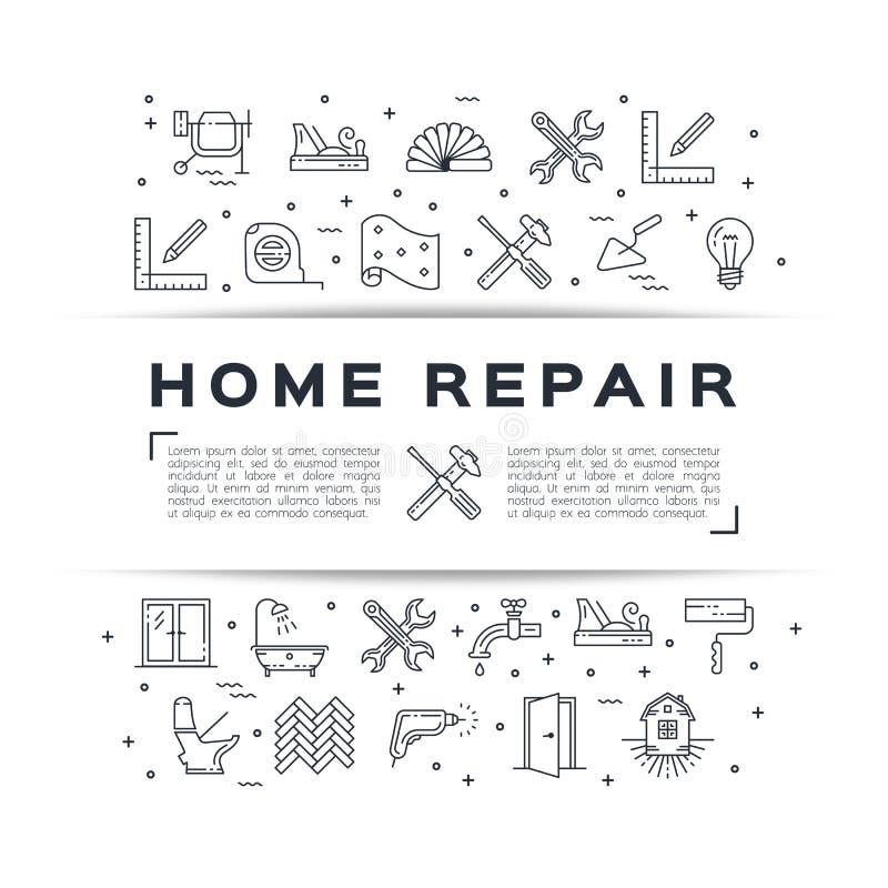 Hem- affisch för reparationsreklambladkonstruktion Huset omdanar den tunna linjen konstsymboler vektor stock illustrationer