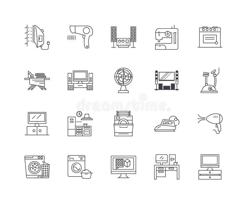 Hem- anordningar fodrar symboler, tecken, vektoruppsättningen, översiktsillustrationbegrepp vektor illustrationer