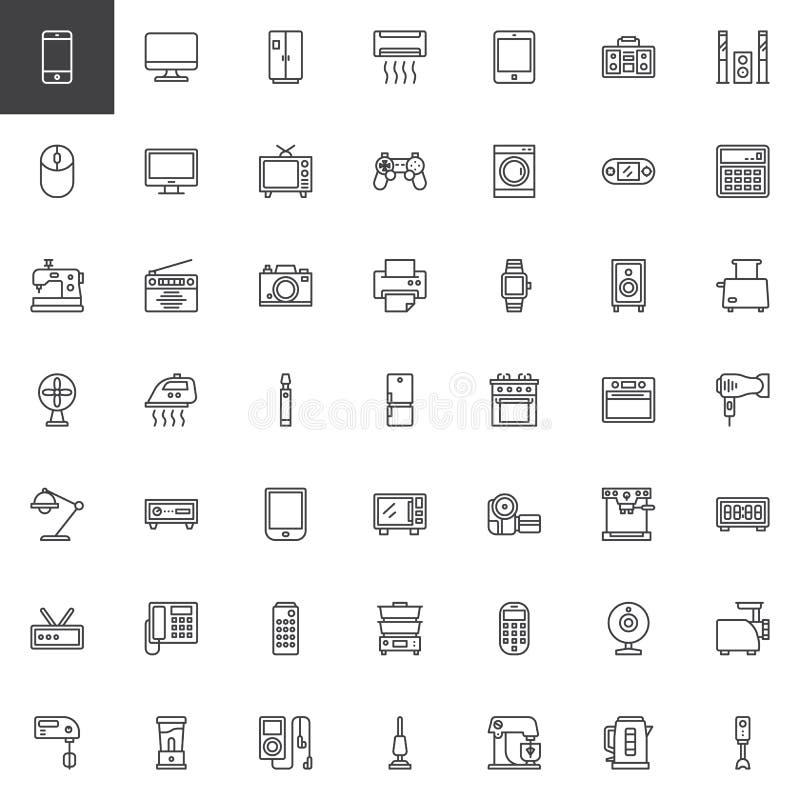 Hem- anordningar skisserar symbolsuppsättningen stock illustrationer
