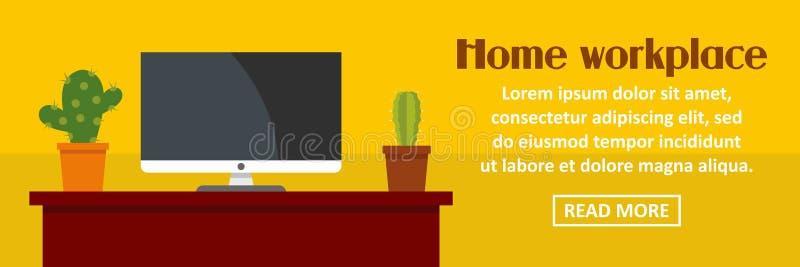 Hem- arbetsplats med kaktusbanerhorisontalbegrepp stock illustrationer