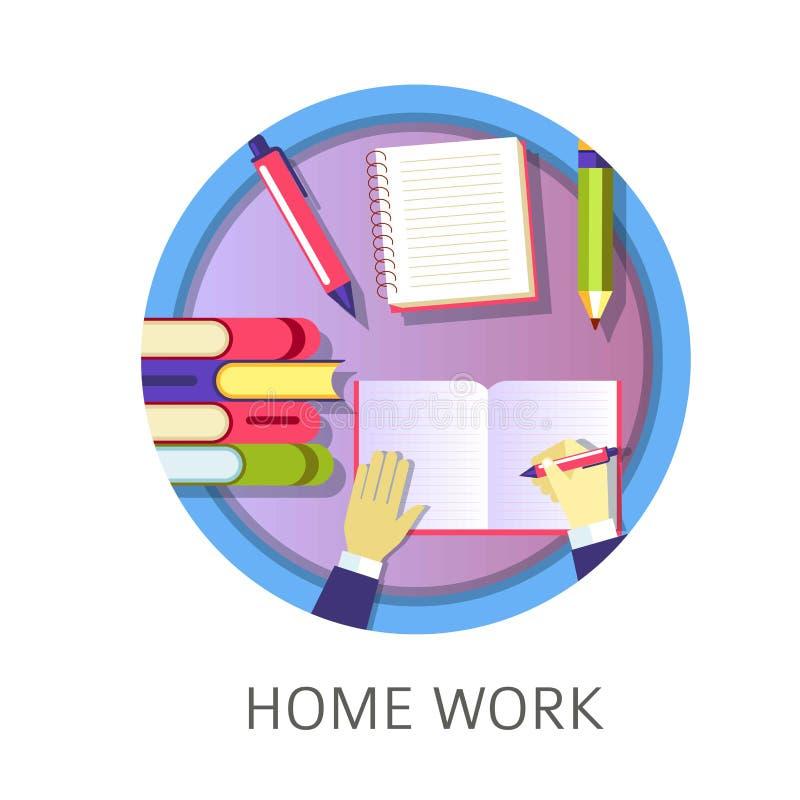 Hem- arbetsstudent som skriver i läroboken som studerar från böcker stock illustrationer