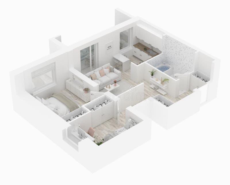 Hem- bästa sikt för golvplan Lägenhetinre som isoleras på vit bakgrund 3d framför vektor illustrationer