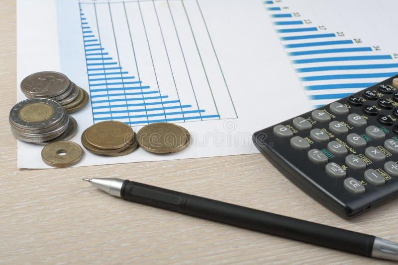 Hem- besparingar, budget- begrepp Kartlägga, skriva, räknemaskinen och mynt på träkontorstabellen royaltyfria foton