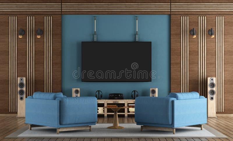 Hem- biorum med TV som hänger på den blåa väggen stock illustrationer