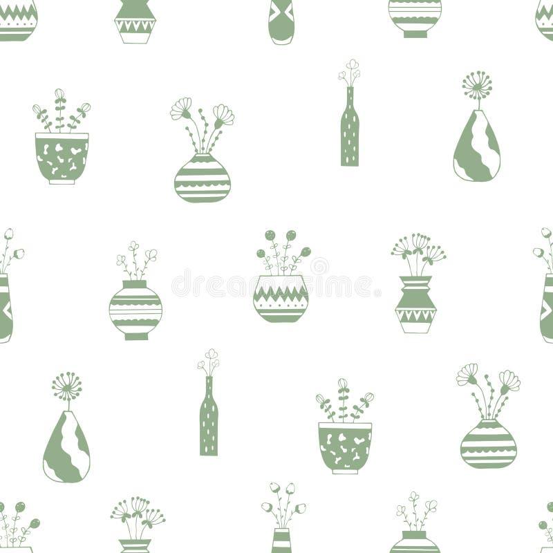 Hem- blommor i krukor med gröna modeller stock illustrationer