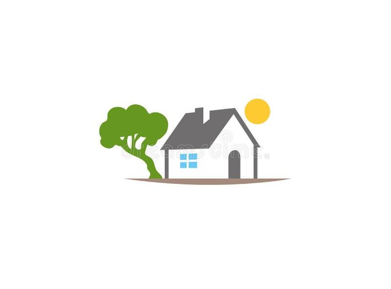 Hem bredvid träd och sol upp huslogo vektor illustrationer