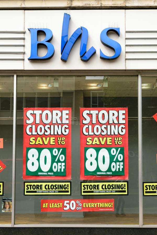 Hem- diversehandel för britt som ner stänger sig royaltyfri foto