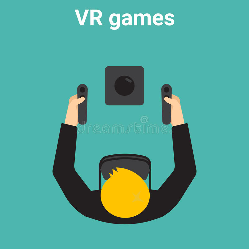 Hem- dobbel i virtuell verklighet vektor illustrationer