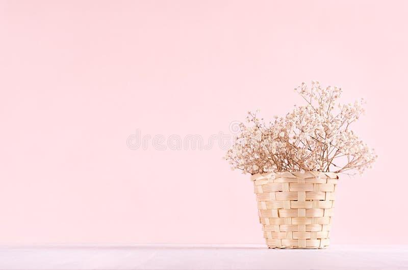 Hem- ecodekor för elegans - vit torkad blommabukett i hink på vit tabell- och moderosa färgbakgrund royaltyfri foto