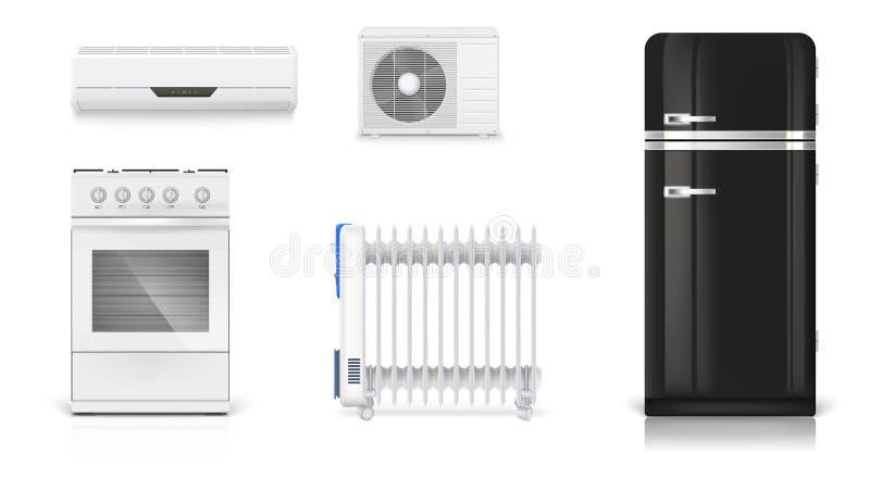 Hem- elektriska anordningar Lufta att betinga, det olje- elementet för elkraften, kylskåpet med retro design, gasugn Uppsättning stock illustrationer
