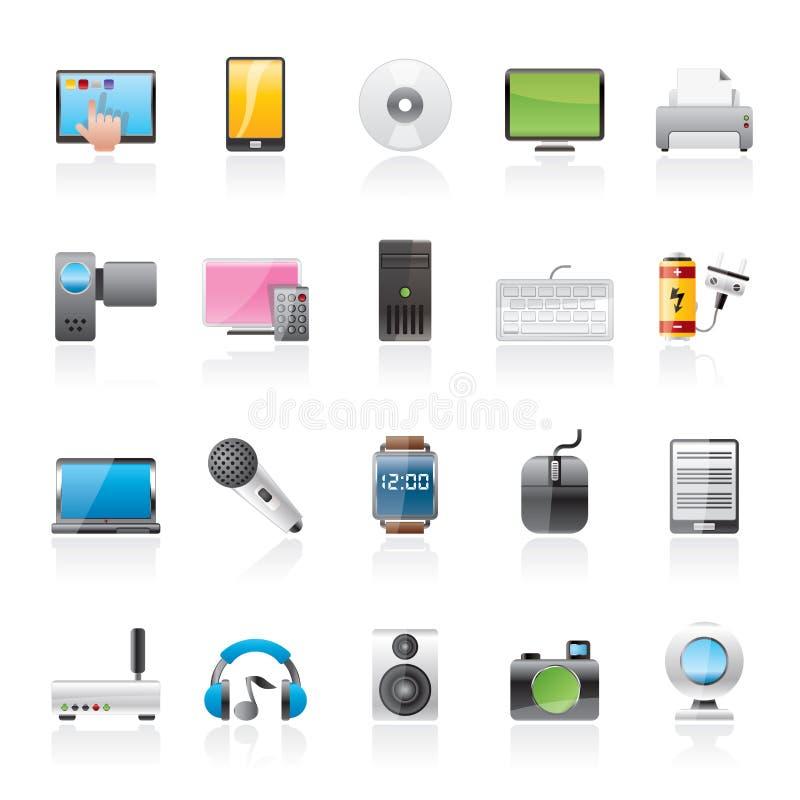 Hem- elektronik och personliga multimediaapparatsymboler stock illustrationer