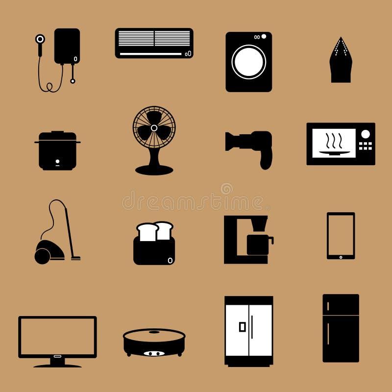 Hem- elektroniska anordningsymboler royaltyfri illustrationer