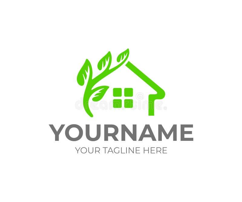 Hem eller hus och filial med sidor, logodesign Smart hus, grön konstruktion och ecobyggnad, vektordesign vektor illustrationer