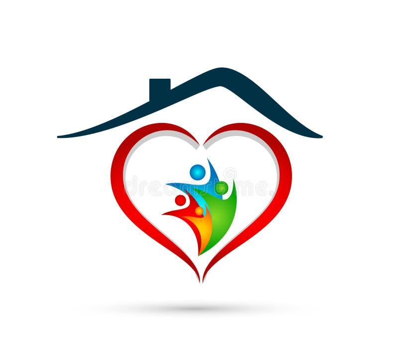 Hem, förälskelse och omsorg för familj fackligt i en röd beståndsdel för vektor för hjärta- och hjärtaformlogosymbol royaltyfri illustrationer