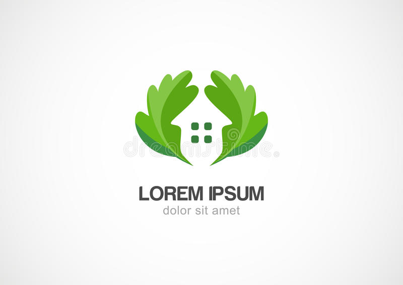 Hem för gräsplansidaeco, mall för vektorlogodesign stock illustrationer