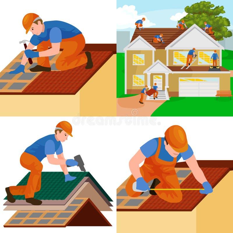 Hem för takbyggnadsarbetarereparation, hus för tegelplatta för tak för byggandestrukturfixande med arbets- utrustning, roofermän  royaltyfri illustrationer