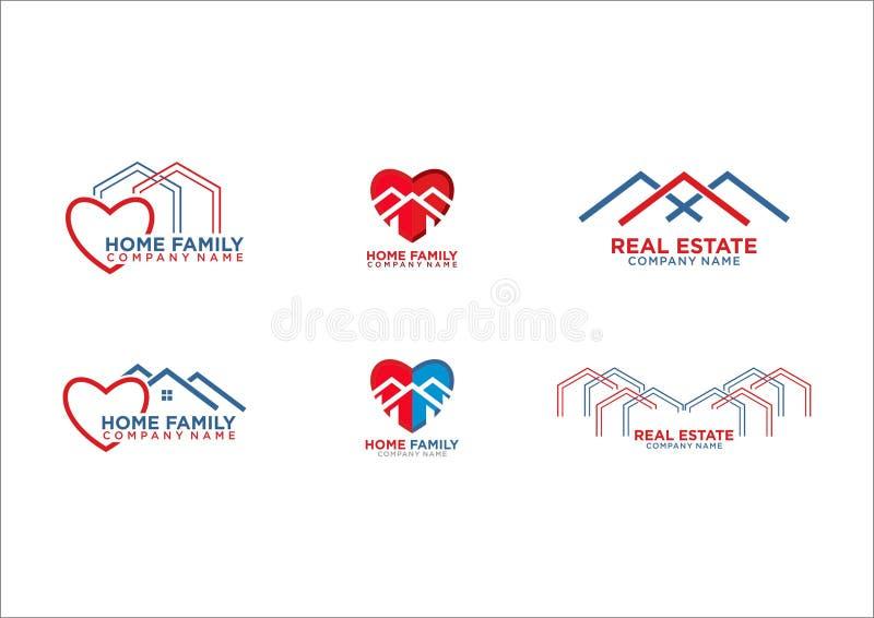 Hem- familjhjärtalogo vektor illustrationer