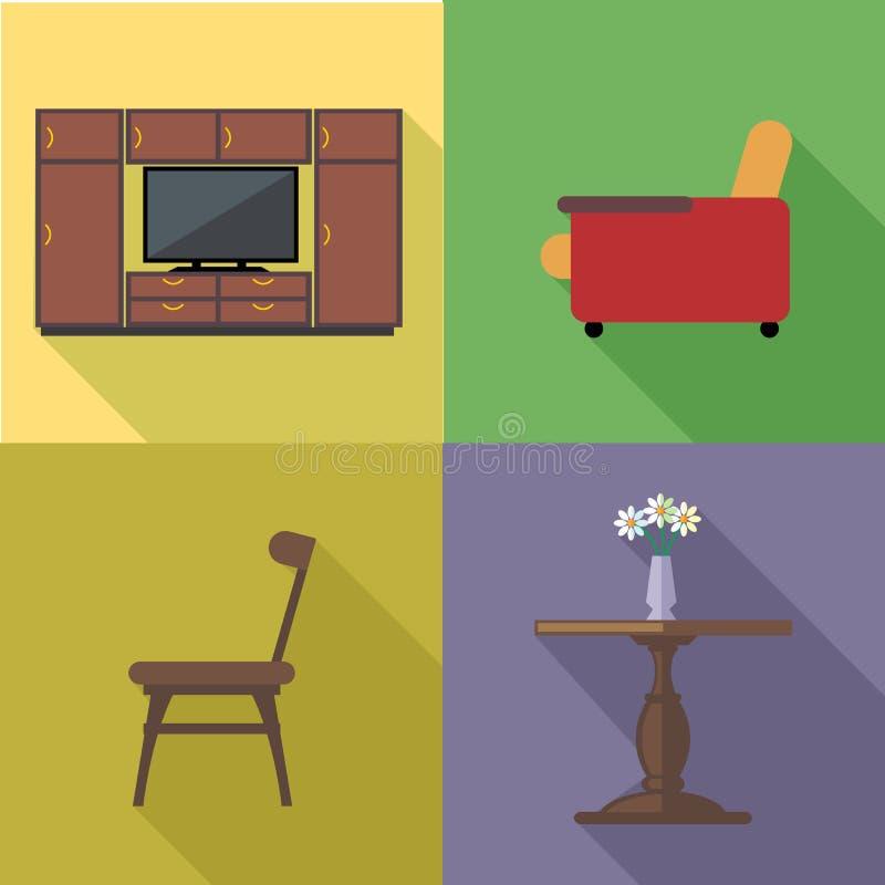 Hem- garneringsymbolsuppsättning, lägenhetstil royaltyfri illustrationer