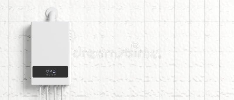 Hem- gaskokkärl, vattenvärmeapparat på den vita belade med tegel väggen illustration 3d royaltyfri illustrationer