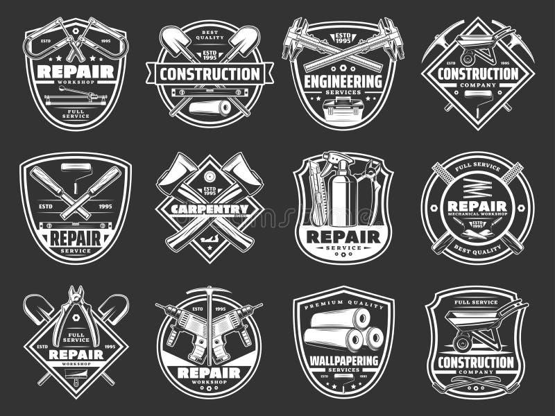 Hem- hjälpmedel för konstruktion för reparationsservice shoppar symboler stock illustrationer
