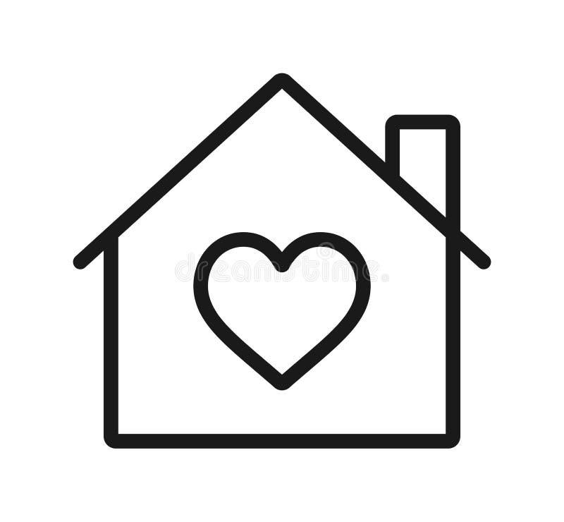Hem- hjärtasymbol logo för hjärtaomsorgmitt royaltyfri illustrationer