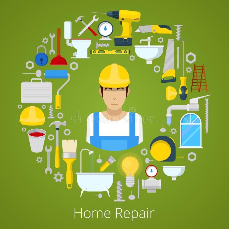 Hem- husreparation med yrkesmässiga arbetar- och reparationshjälpmedel vektor illustrationer