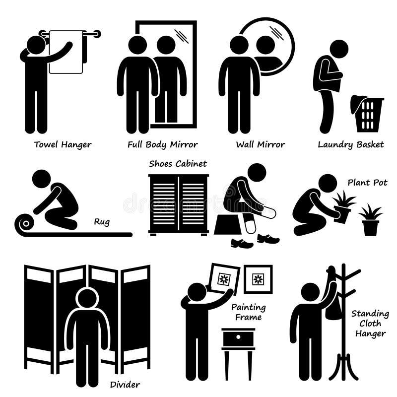 Hem- hustillbehör och garneringar Cliparts stock illustrationer