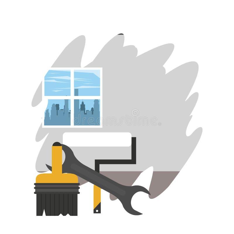 Hem i renovering stock illustrationer