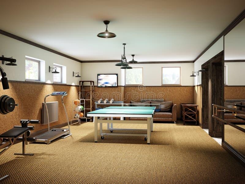 Hem- idrottshall i källaren med konditionutrustning och bordtennis royaltyfria bilder