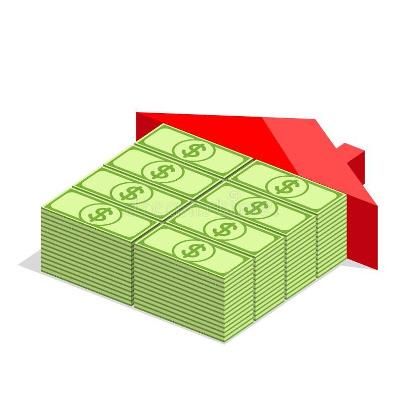 hem- illustrationdesign för pengar över en vit bakgrund vektor illustrationer