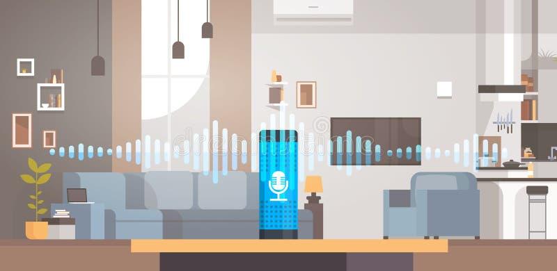 Hem- intelligent stämma aktiverad bakgrund smart ai för vardagsrum för begrepp för assistenterkännandeteknologi inre stock illustrationer